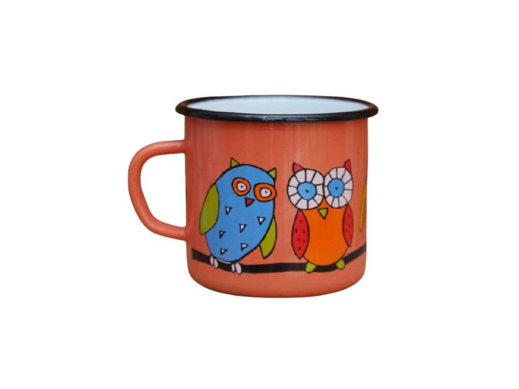 2579 enamel mug coral motive owl