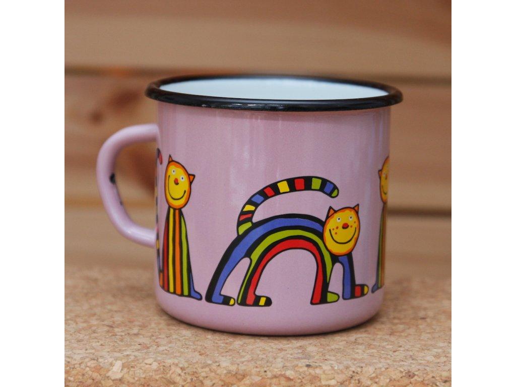 Pink mug with a stripy cat