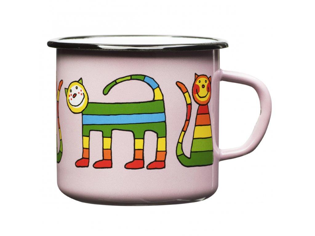 Pink mug with a cat