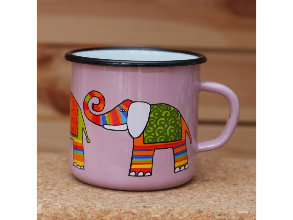 Pink mug with an elephant