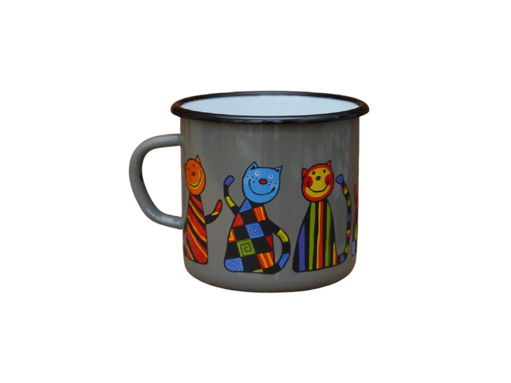 2609 enamel mug gray motive cat