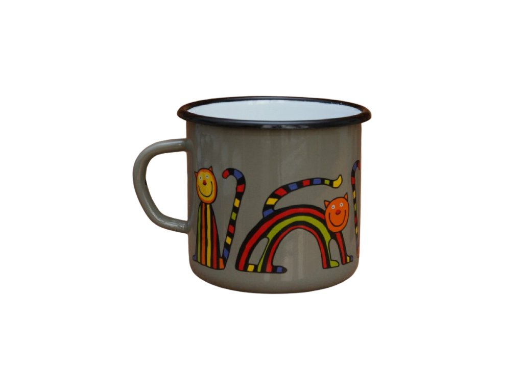 2615 enamel mug grey motive cat
