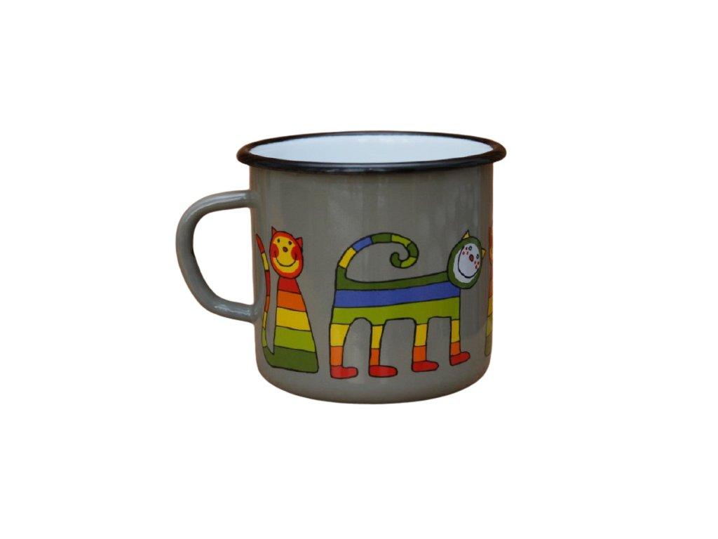 2618 enamel mug gray motive cat