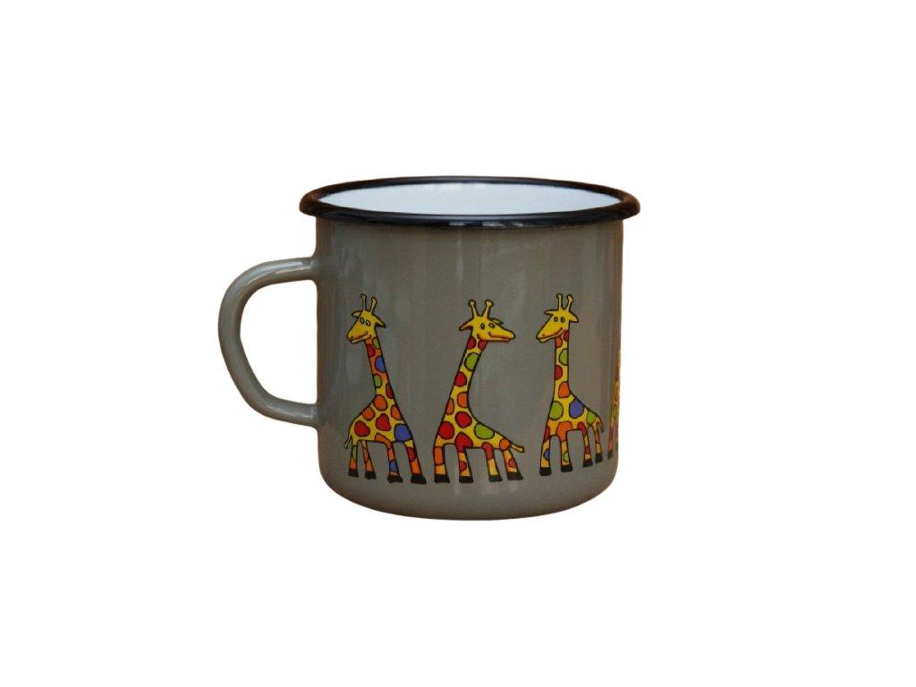 2621 enamel mug gray motive giraffe