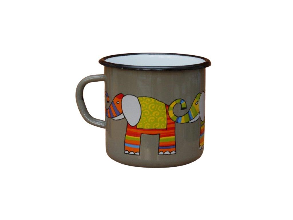 2624 enamel mug gray motive elephant