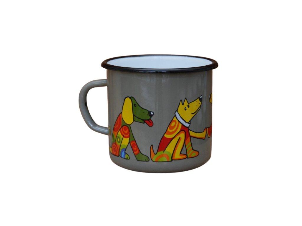 2627 enamel mug gray motive dog