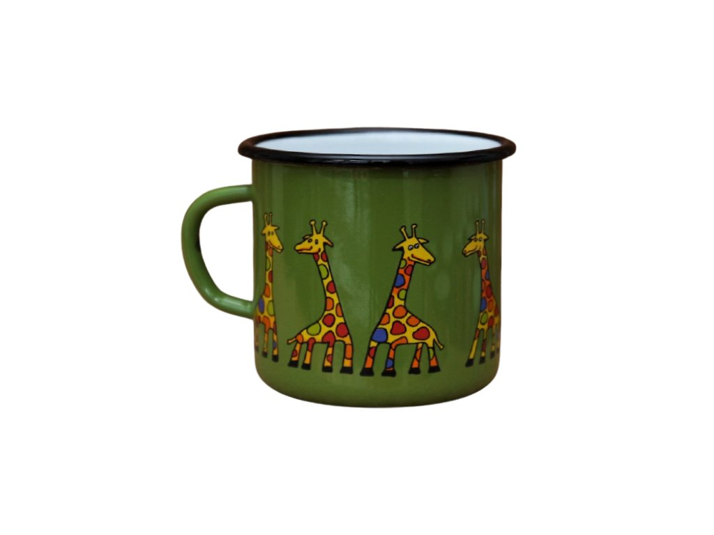 2642 enamel mug green motive giraffe