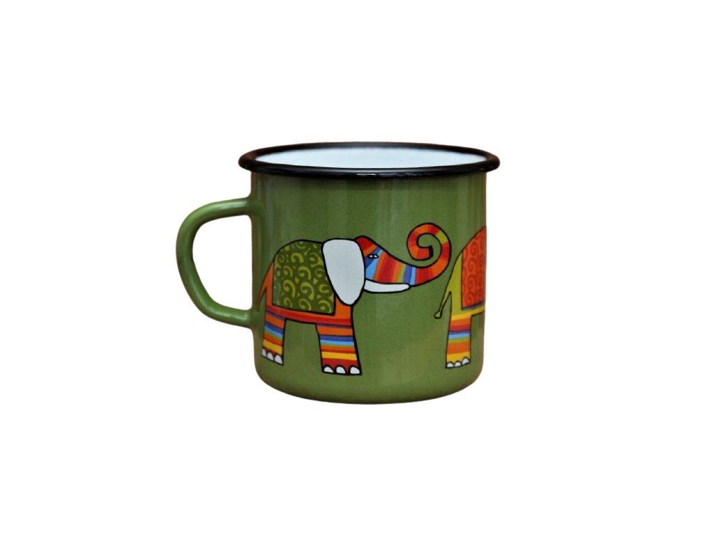 2645 enamel mug green motive elephant