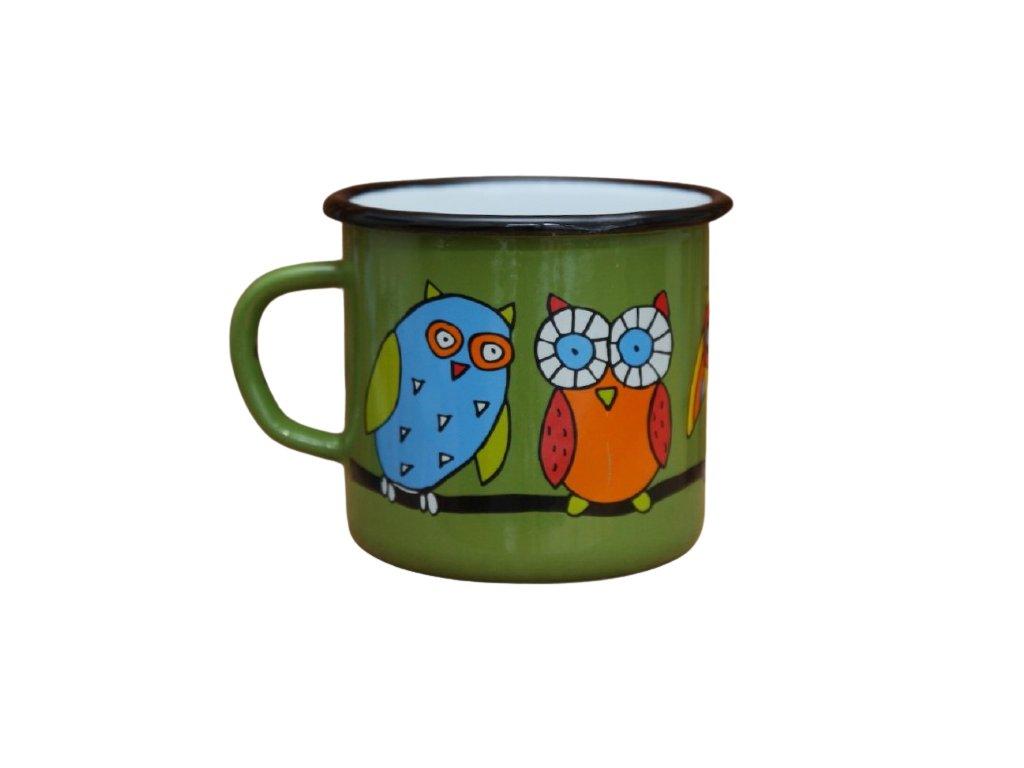 2651 enamel mug green motive owl