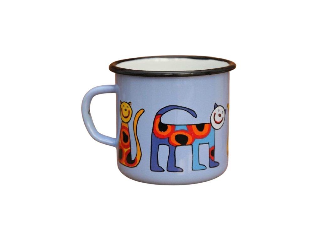 2657 enamel mug light blue motive cats