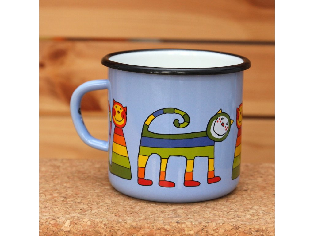 Blue mug with a cat