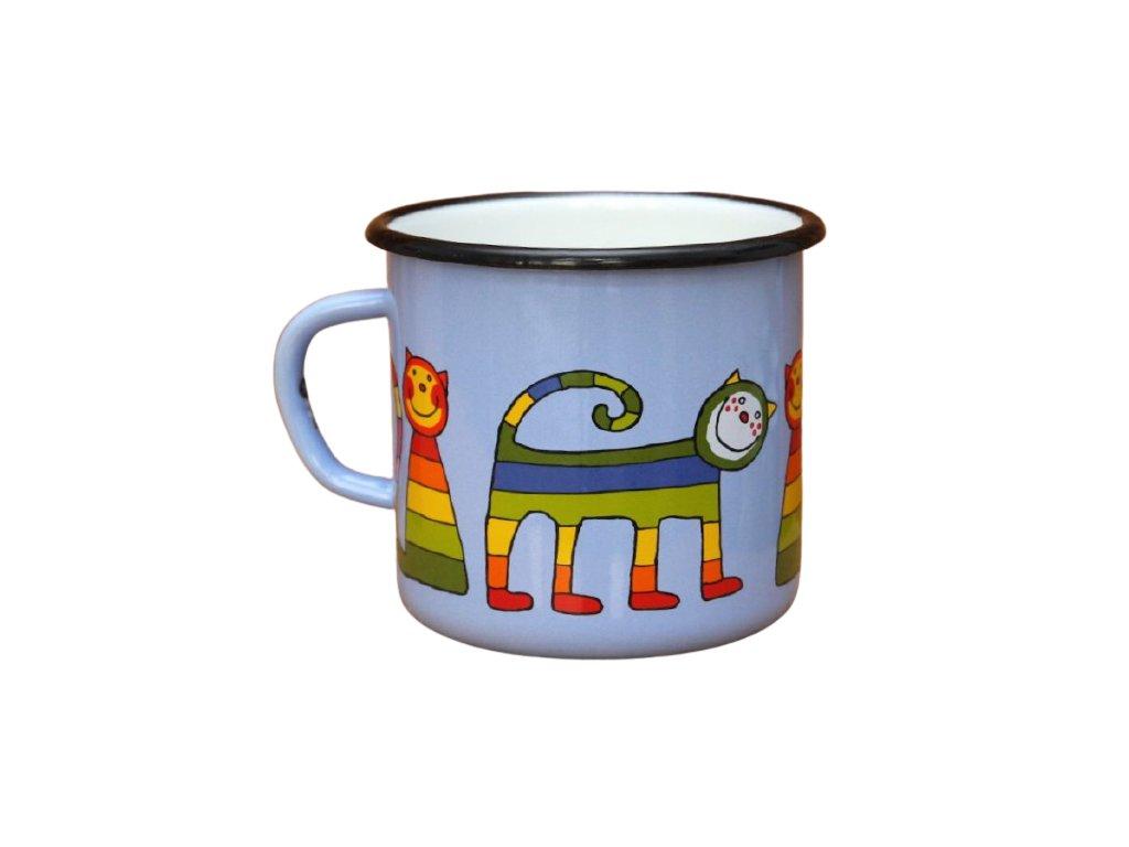 2663 enamel mug light blue motive cats