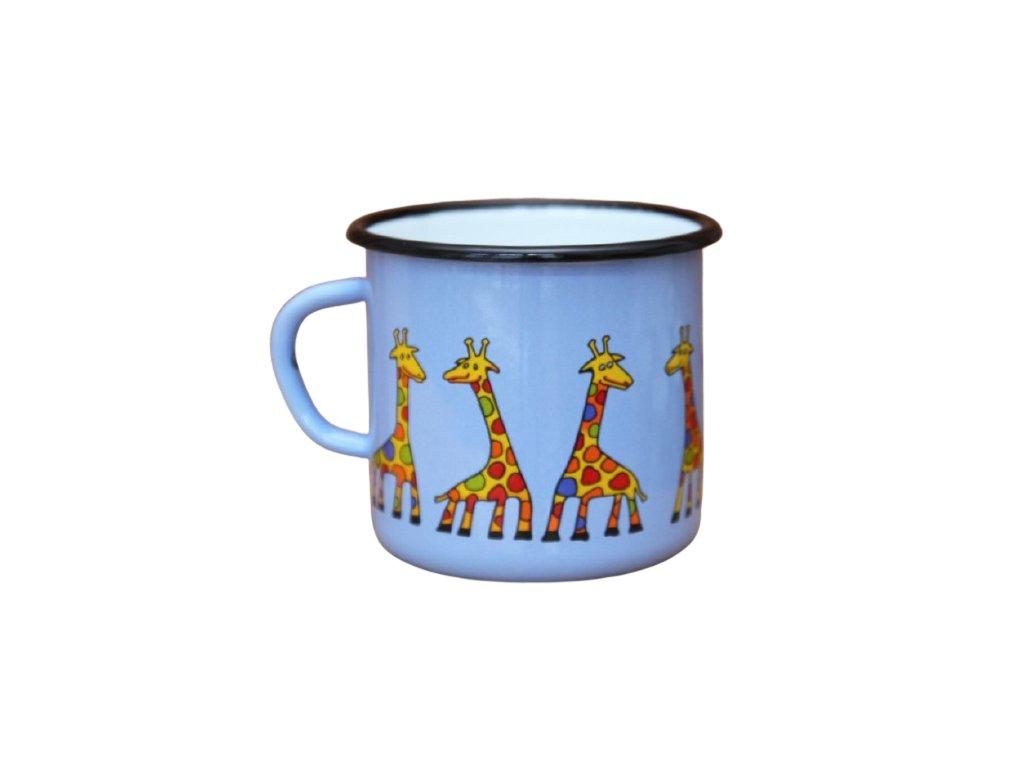2666 enamel mug light blue motive giraffe