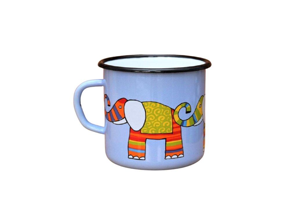 2669 enamel mug light blue motive elephant