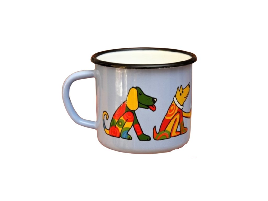 2672 enamel mug light blue motive dog