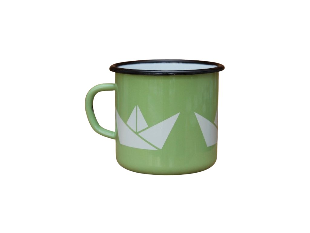 2678 enamel mug light green motive boats
