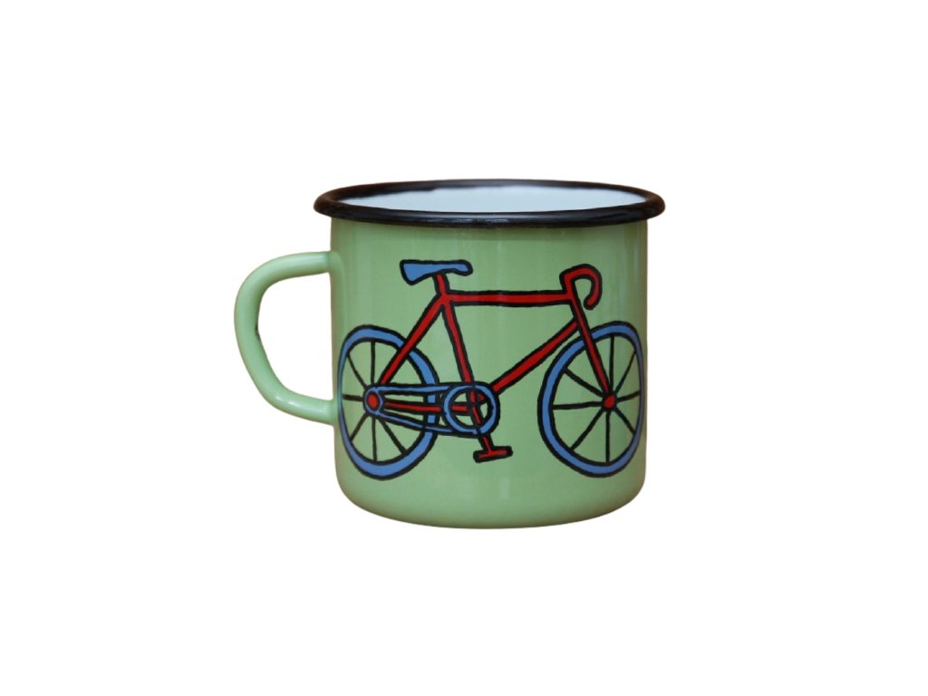 2681 enamel mug light green motiv bikes