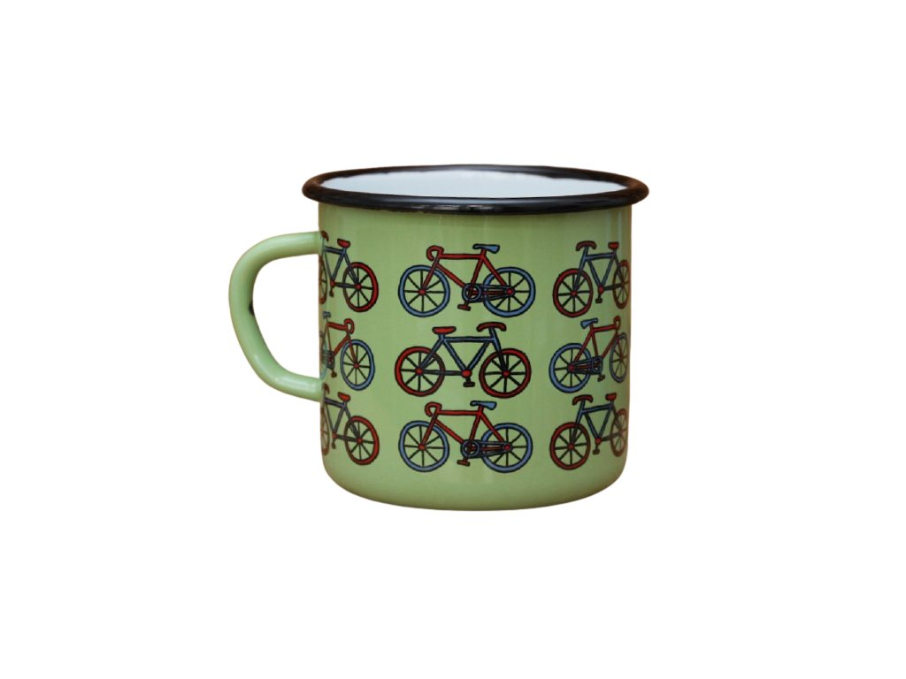 2684 enamel mug light green motive bikes