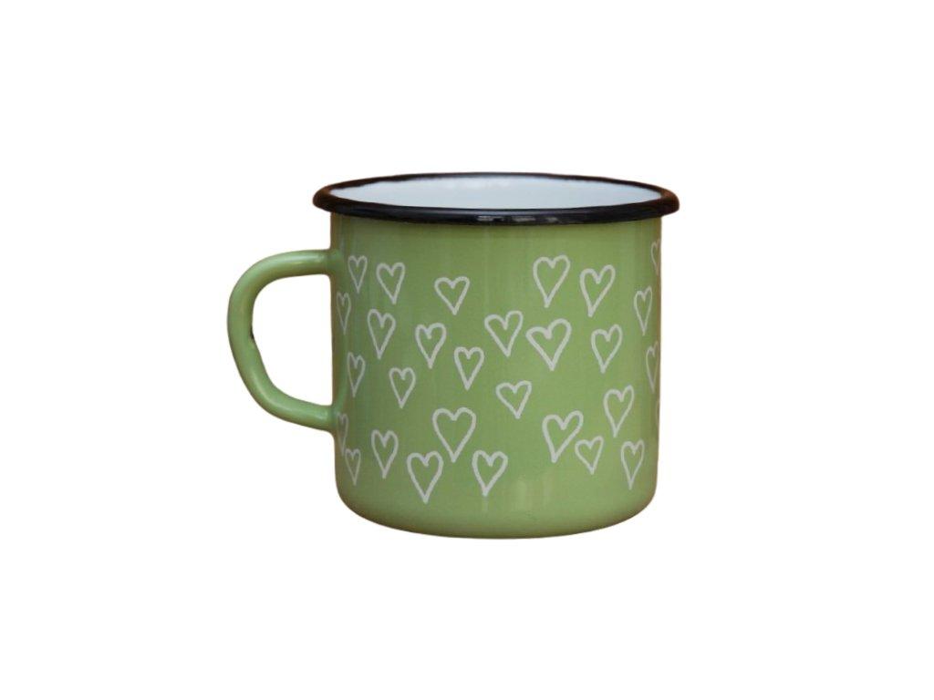 2687 enamel mug light green motive hearts