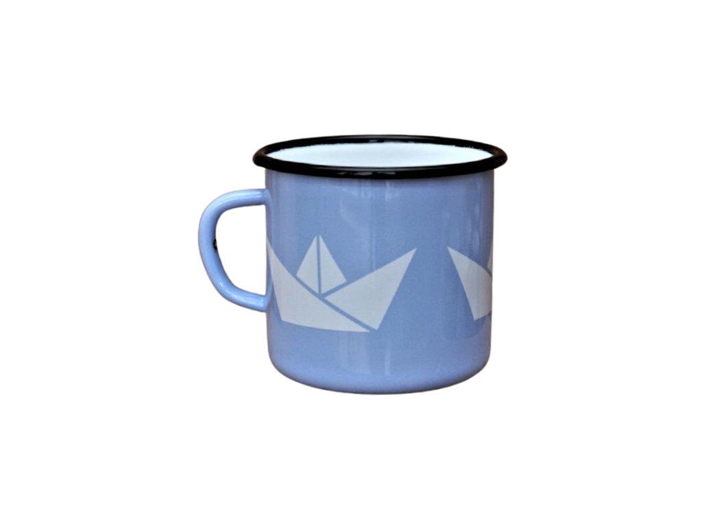 2693 enamel mug light blue mug motive boats