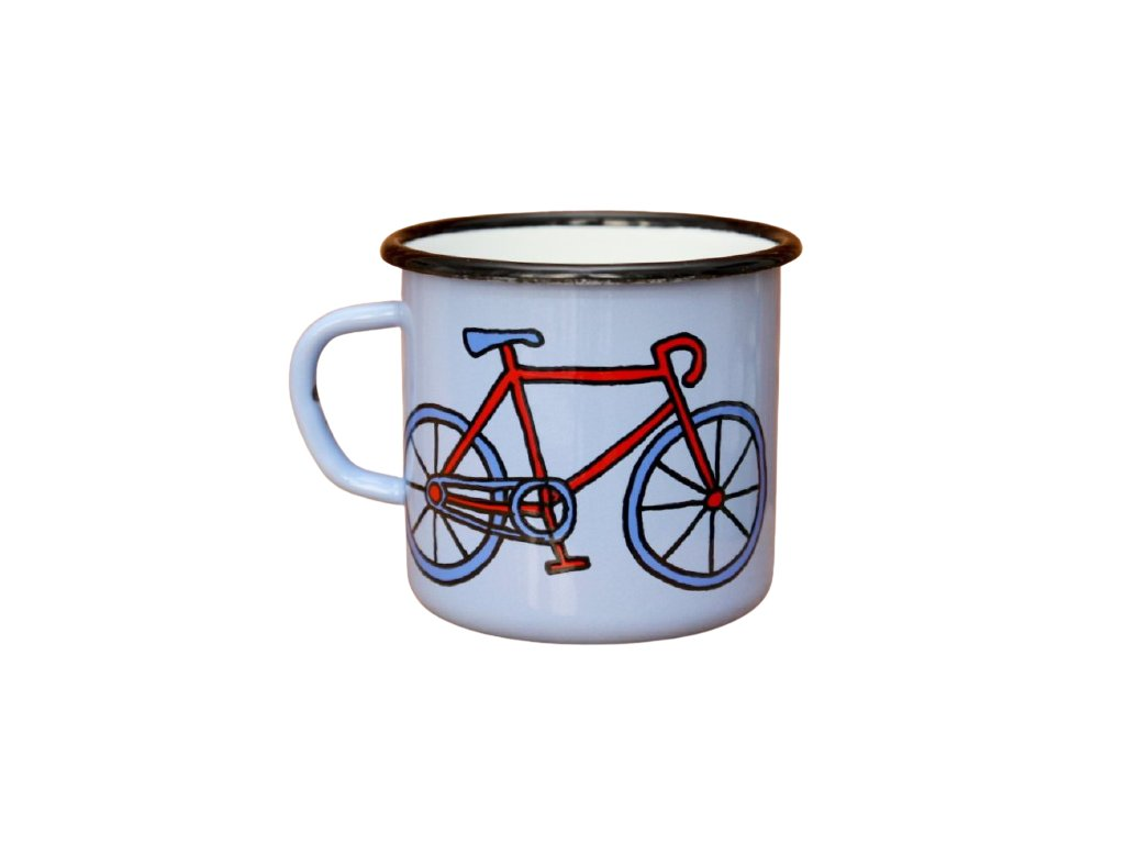 2696 enamel mug light blue motive bikes