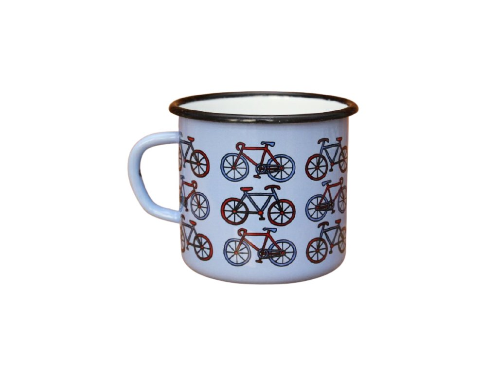 2699 enamel mug light blue motive bikes