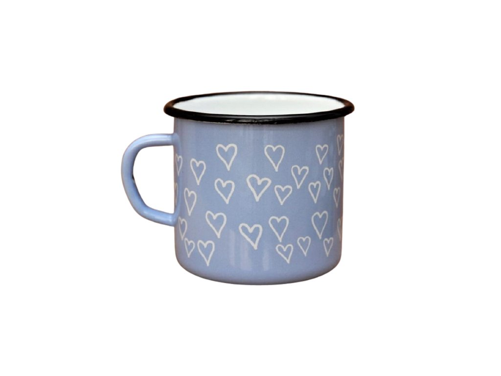 2702 enamel mug light blue motive hearts