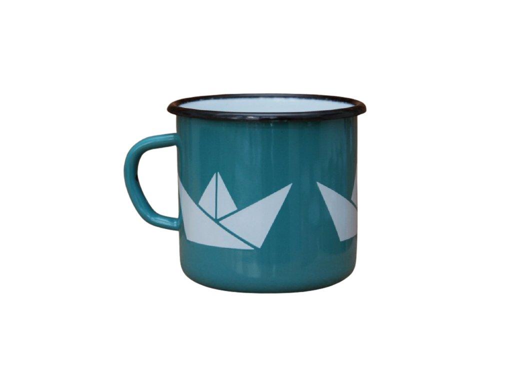 2708 enamel mug ocean blue motive boats