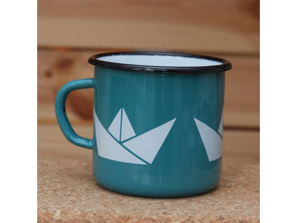Blue/green mug with boats