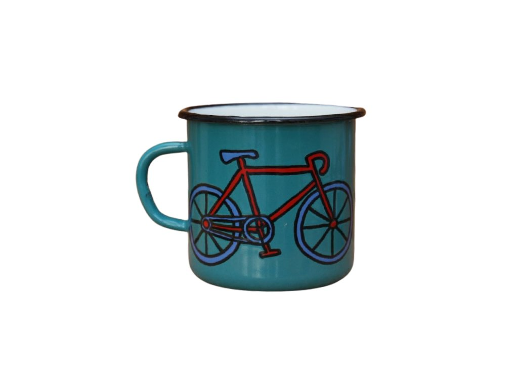 2711 enamel mug ocean blue motive bikes
