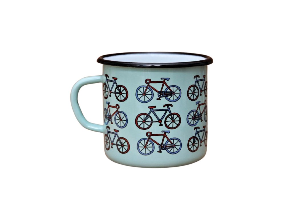 2726 turquoise mug with bikes pattern