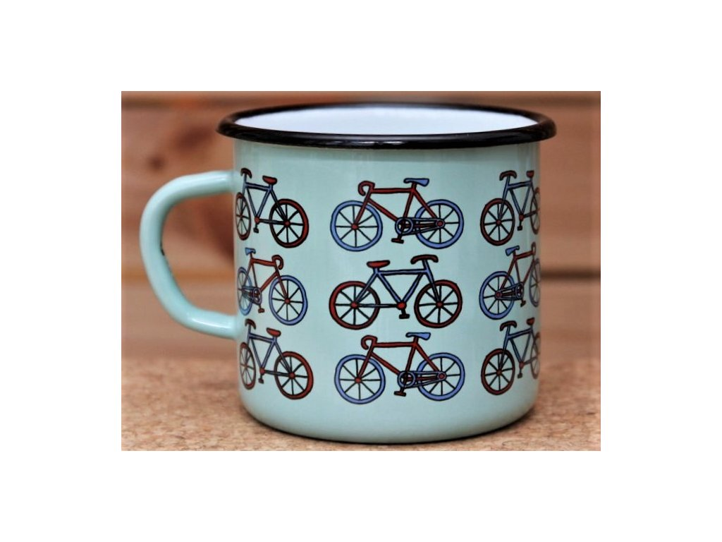 Turquoise mug with bikes (pattern)