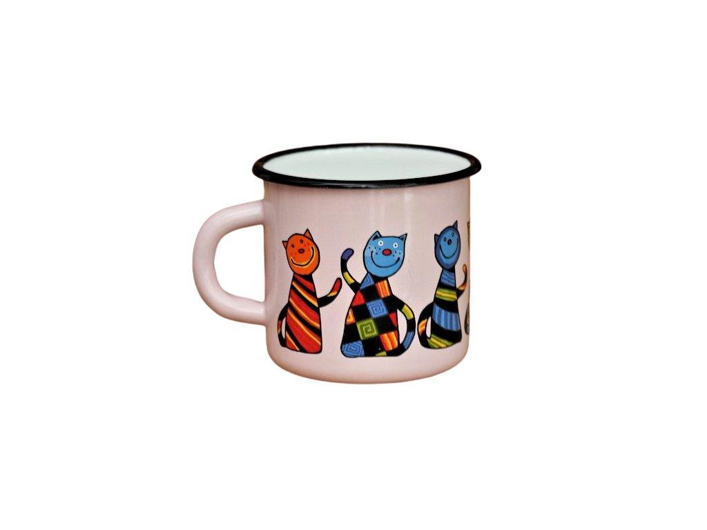 2735 enamel mug pink motive cat