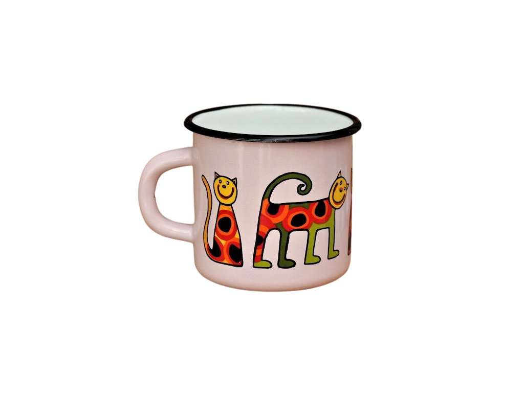2738 enamel mug pink motive cat