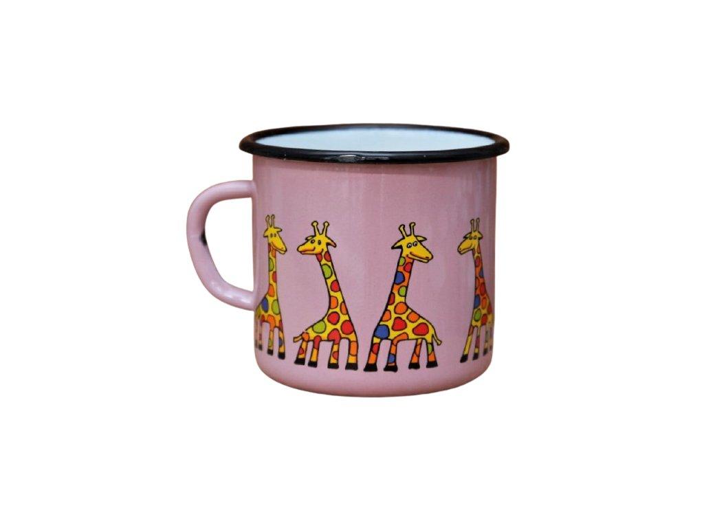 2747 enamel mug pink motive giraffe