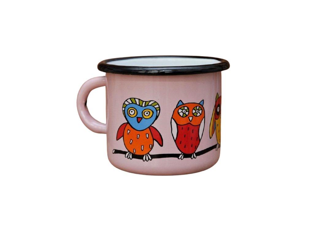 2756 enamel mug pink motive owl