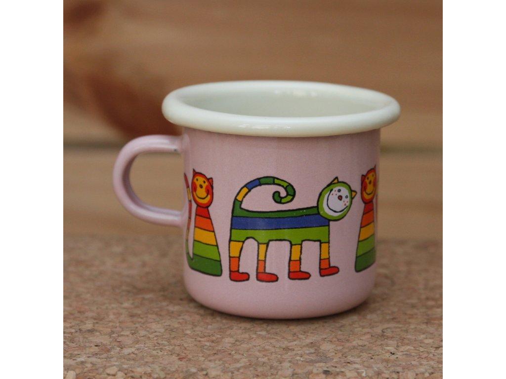 Pink espresso mug with a cat