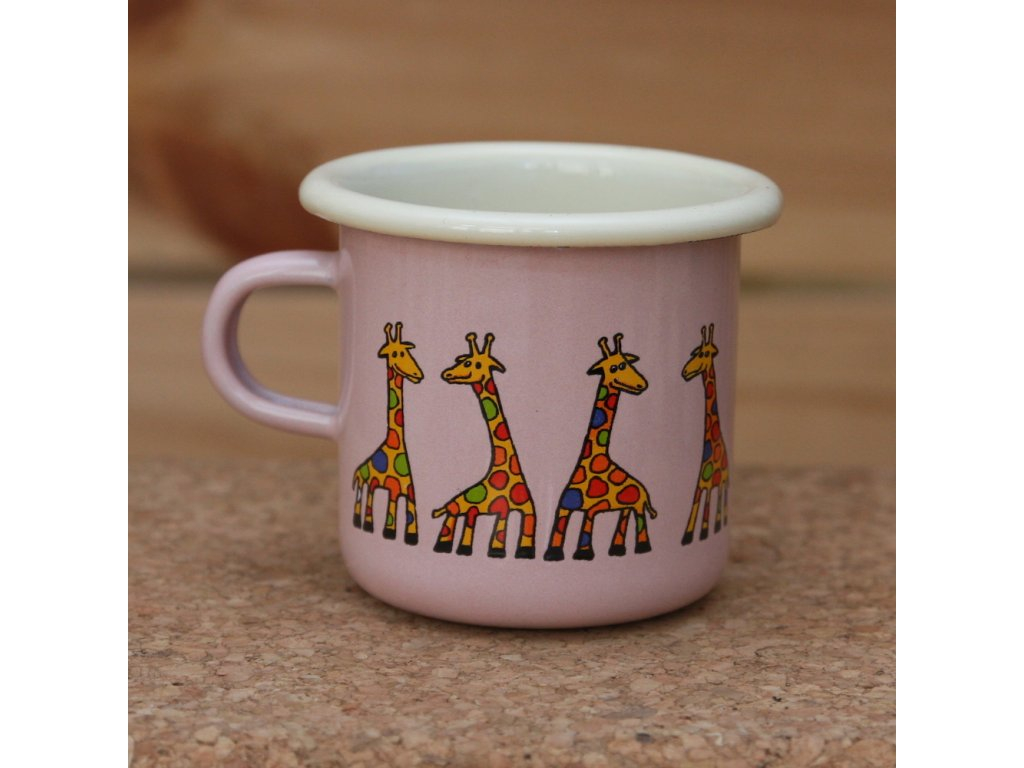 Pink espresso mug with a giraffe