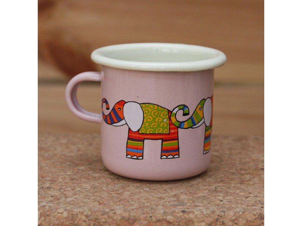Pink espresso mug with a elephant