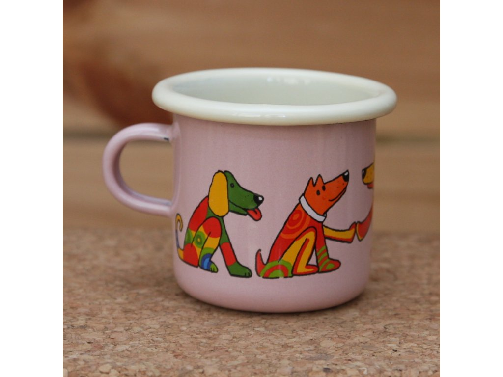 Pink espresso mug with a dog
