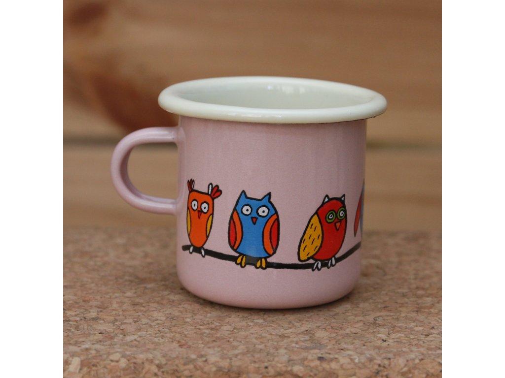 Pink espresso mug with an owl