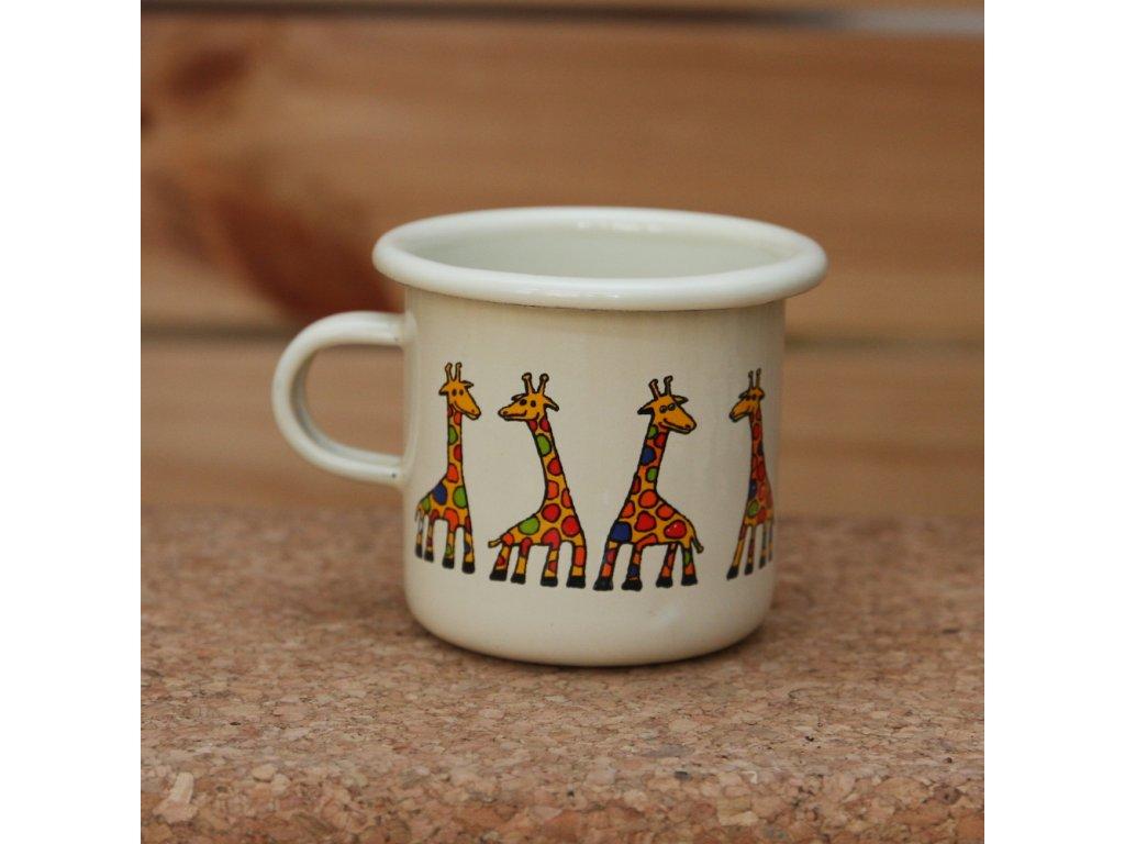 Cream espresso mug with a giraffe