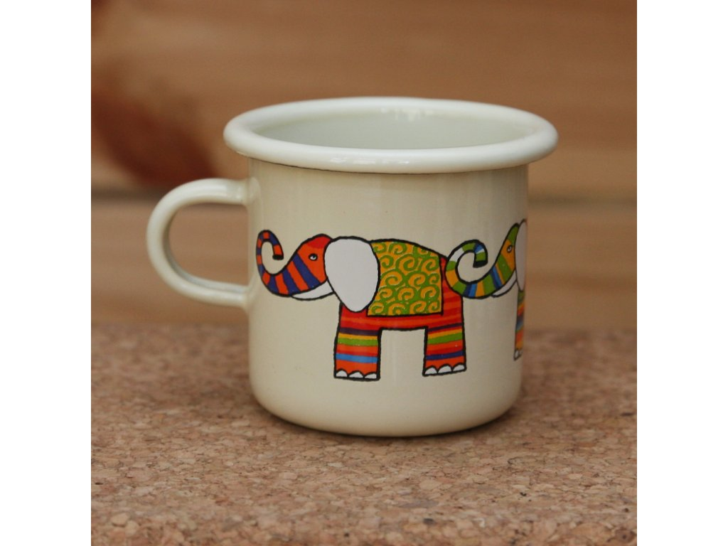 Cream espresso mug with a elephant