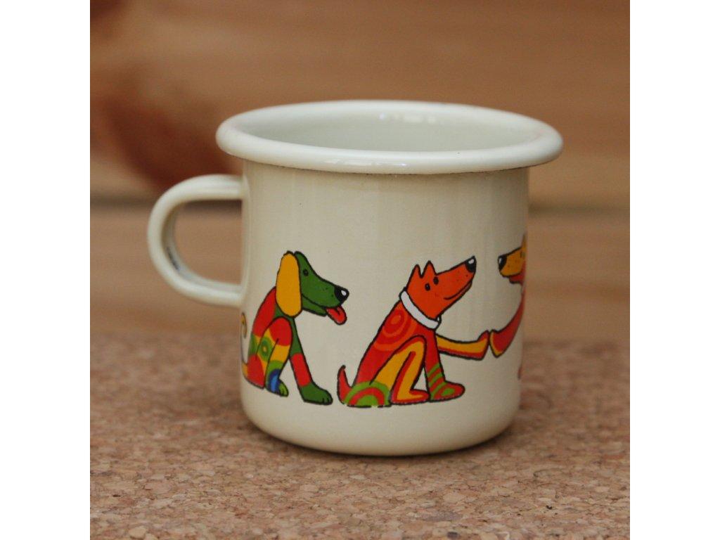 Cream espresso mug with a dog