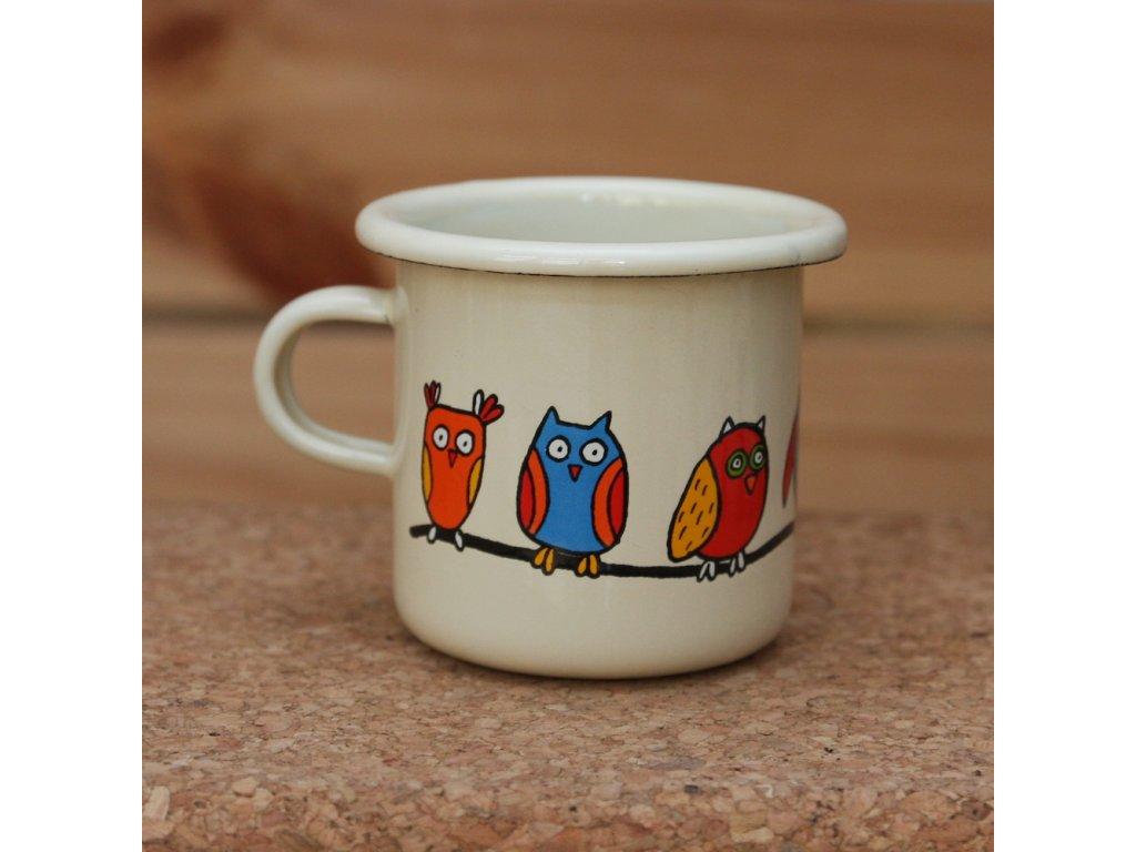 Cream espresso mug with an owl