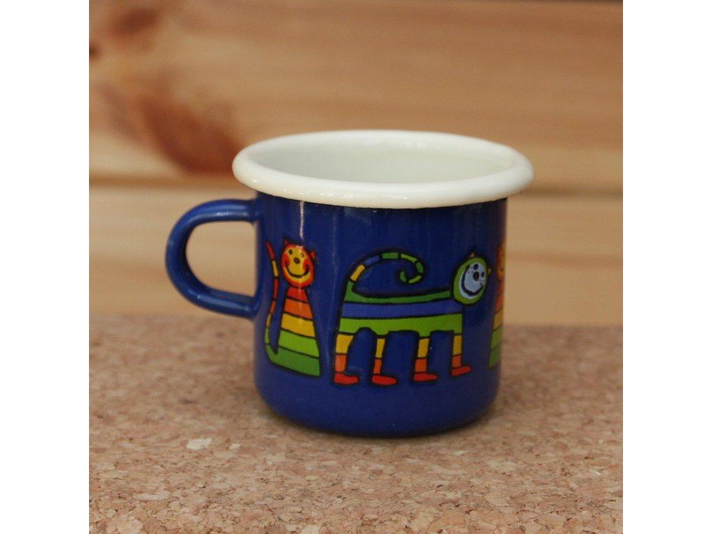 Blue  espresso mug with a cat