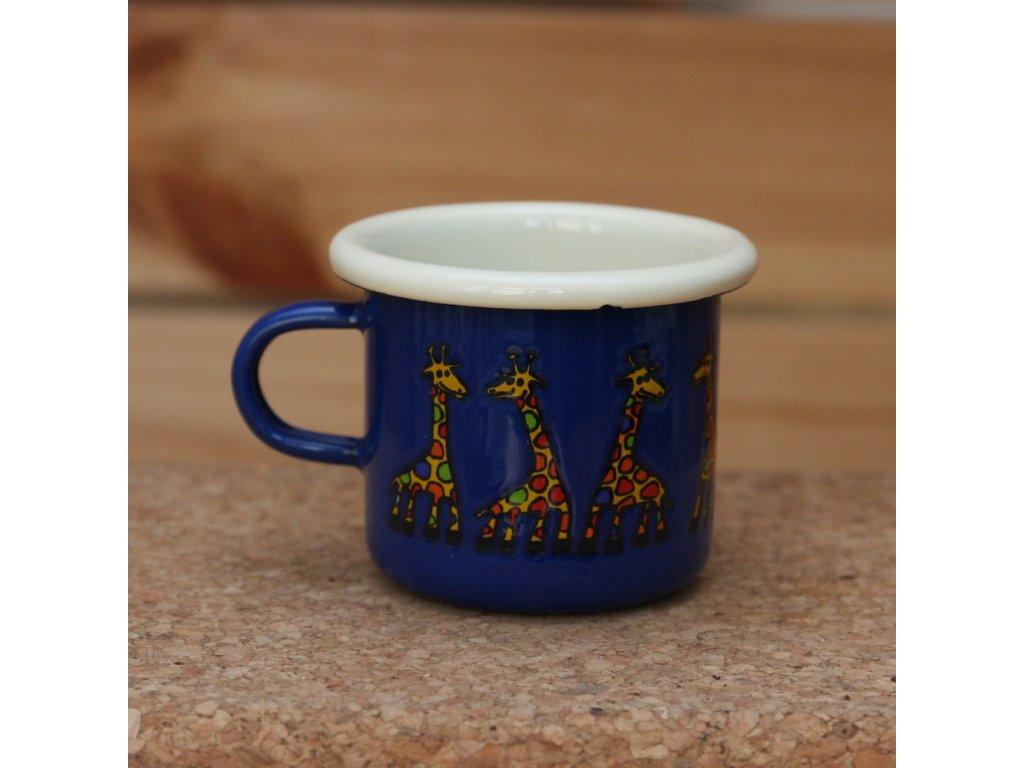 Blue  espresso mug with a giraffe