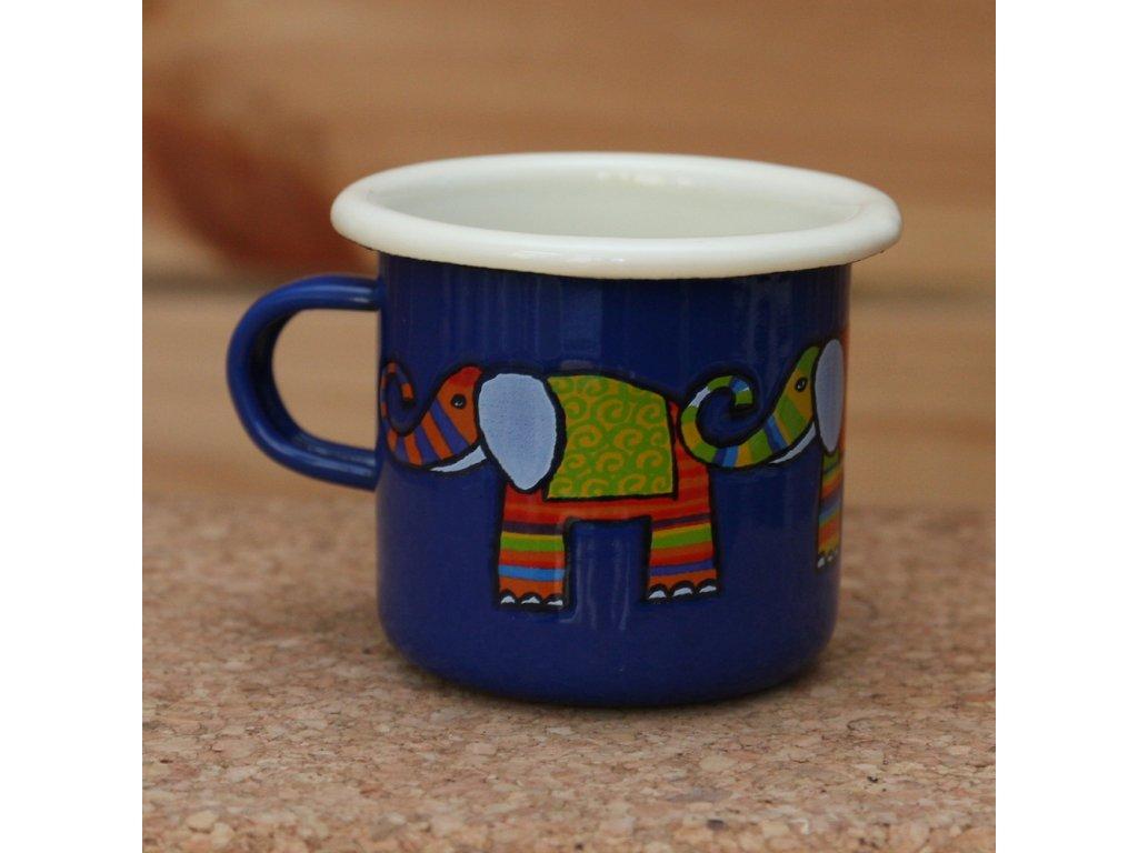 Blue espresso mug with a elephant