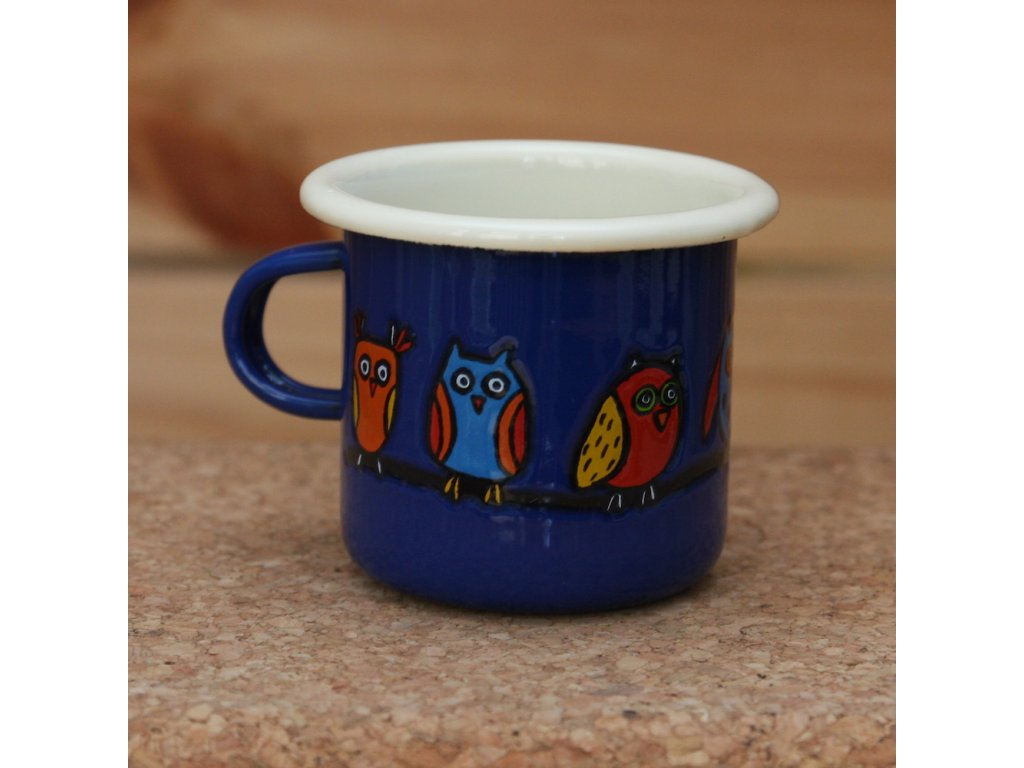 Blue espresso mug with an owl
