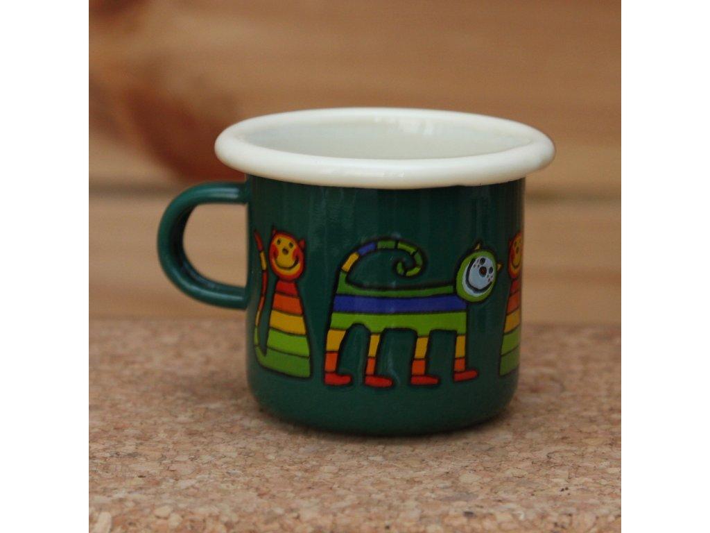 Green espresso mug with a cat